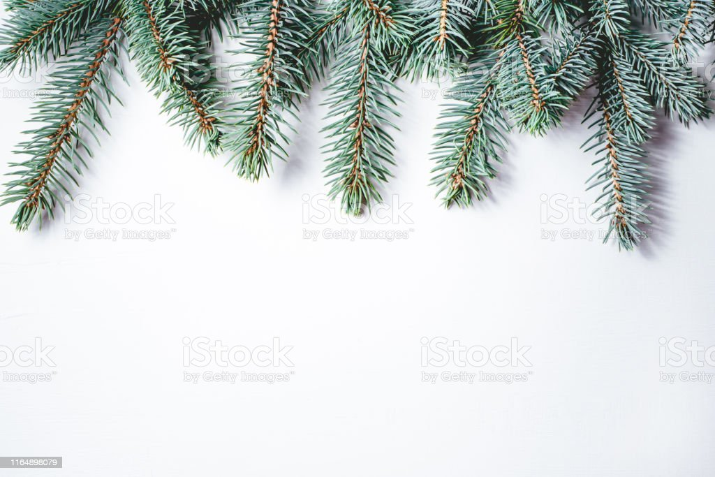 fir branches on white background christmas wallpaper picture id1164898079