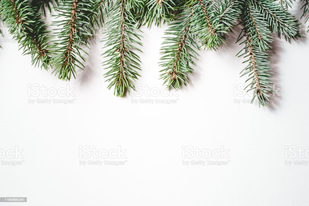fir branches on white background christmas wallpaper picture id1165695091