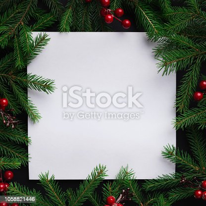 Blank white paper with frame of green fir branches and red berries, copy space