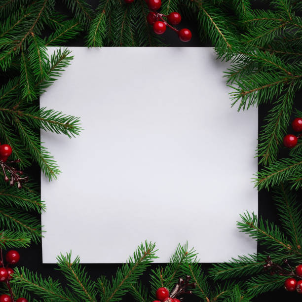 fir tree branches with red christmas balls frame - square stock pictures, royalty-free photos & images