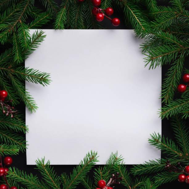 fir tree branches with red christmas balls frame - приглашение стоковые фото и изображения