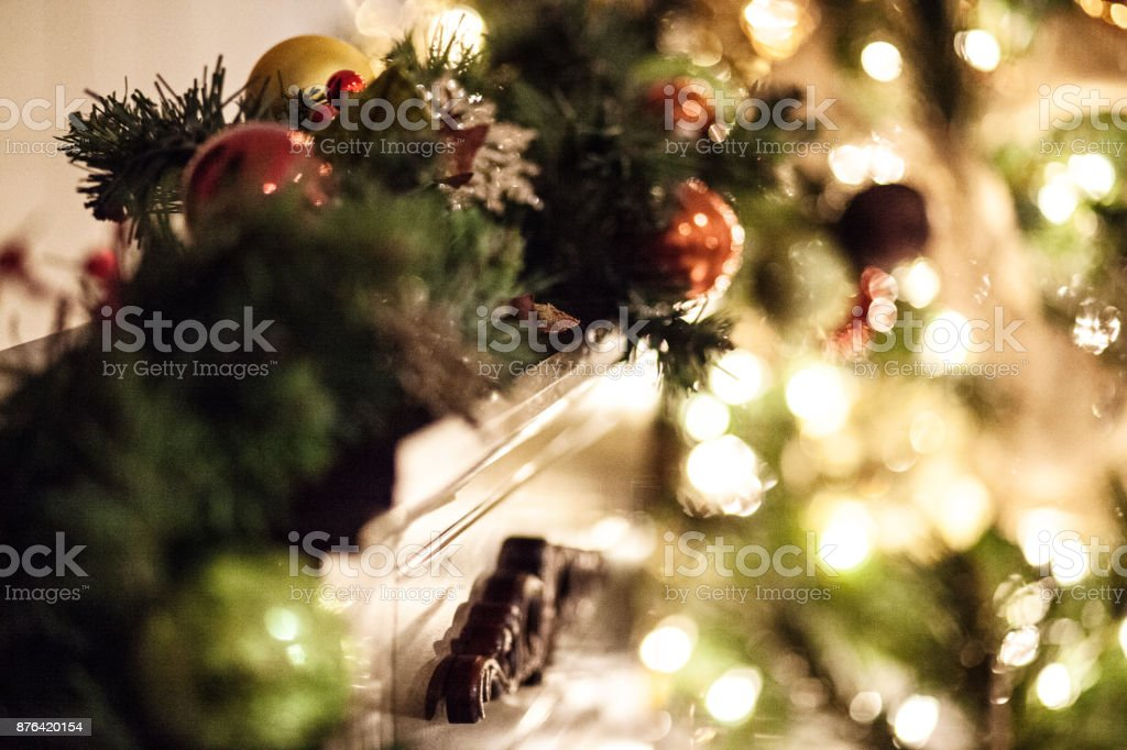 Fir Tree Christmas Garland on Mantle stock photo