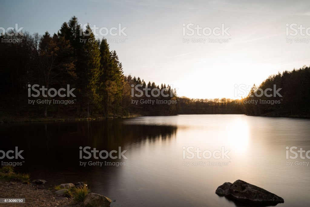 Fir Tree forest in magic colorful sunset over lake (XXXLarge) stock photo
