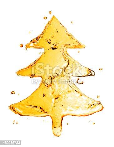 858282944istockphoto fir tree from orange water splash isolated on white 460586733