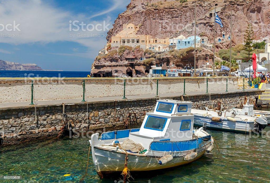 Fira. Old Port Gialos. stock photo