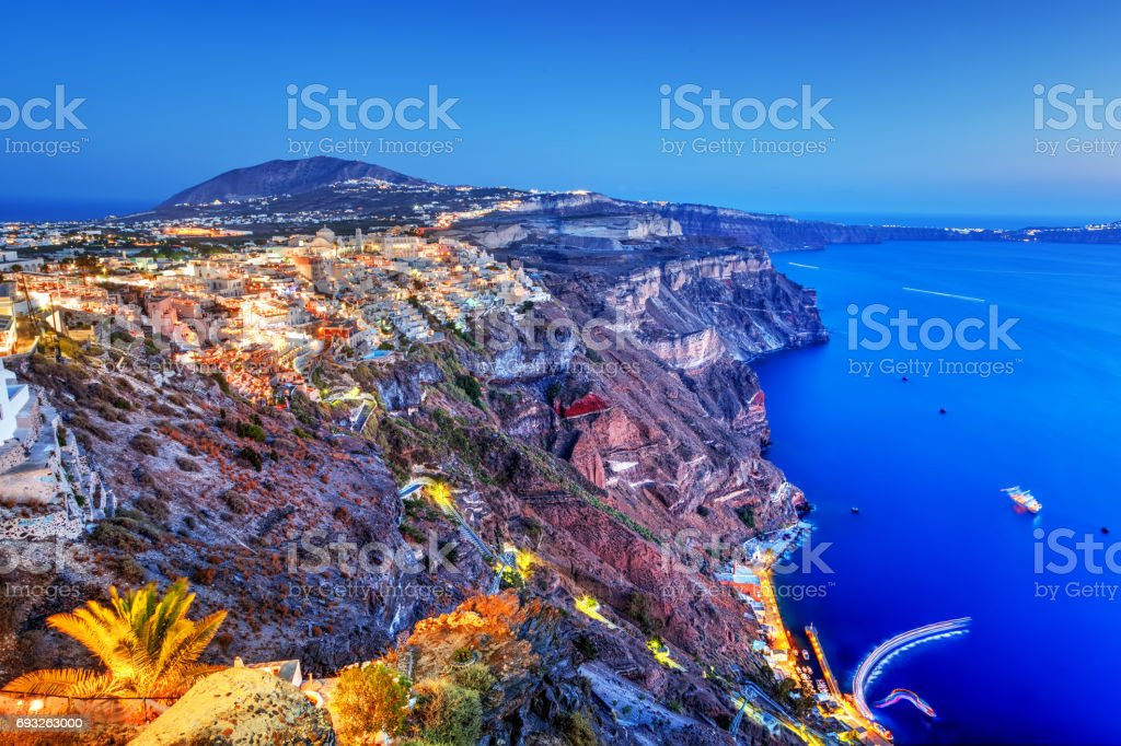 Fira, the capital of Santorini island, Greece at night stock photo