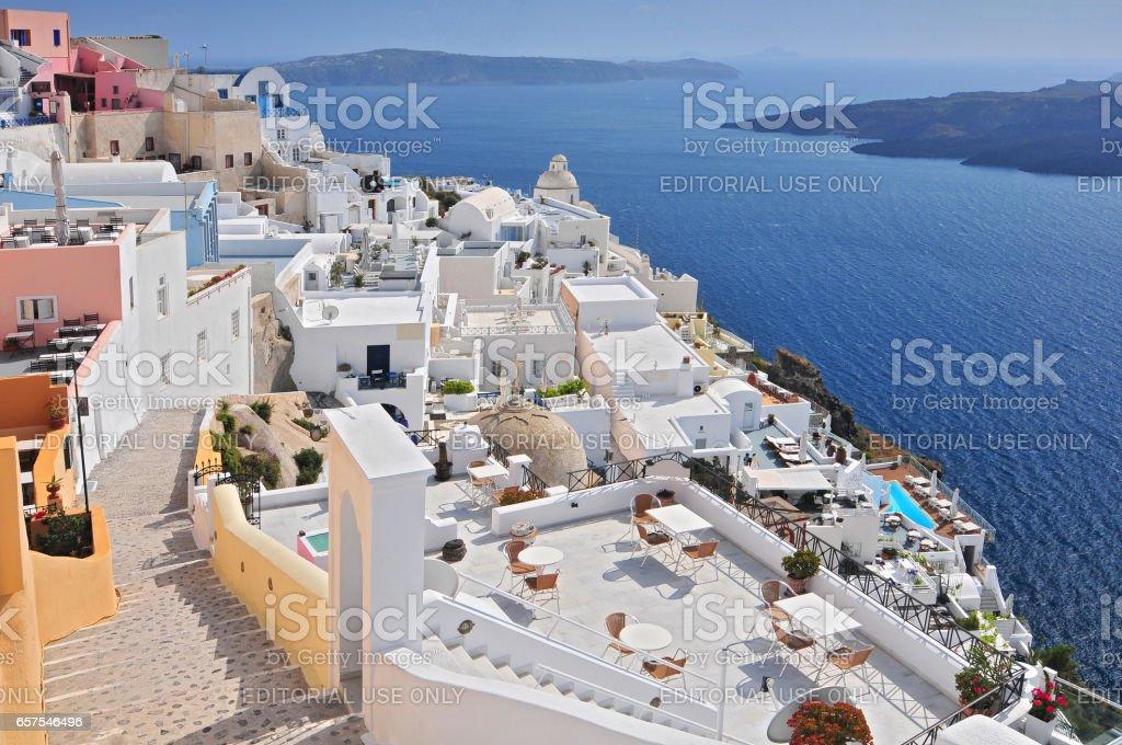 Fira Thira Santorini Island Greece. stock photo