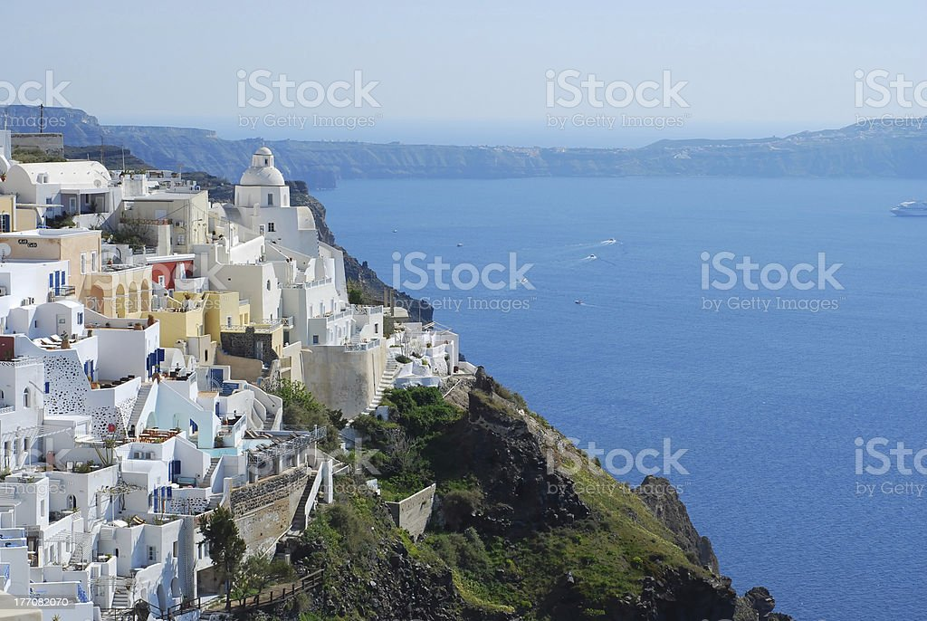 Fira town and deep blue sea, Santorini, Greece royalty-free stock photo