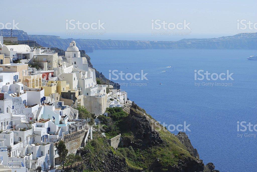 Fira town and deep blue sea, Santorini, Greece stock photo