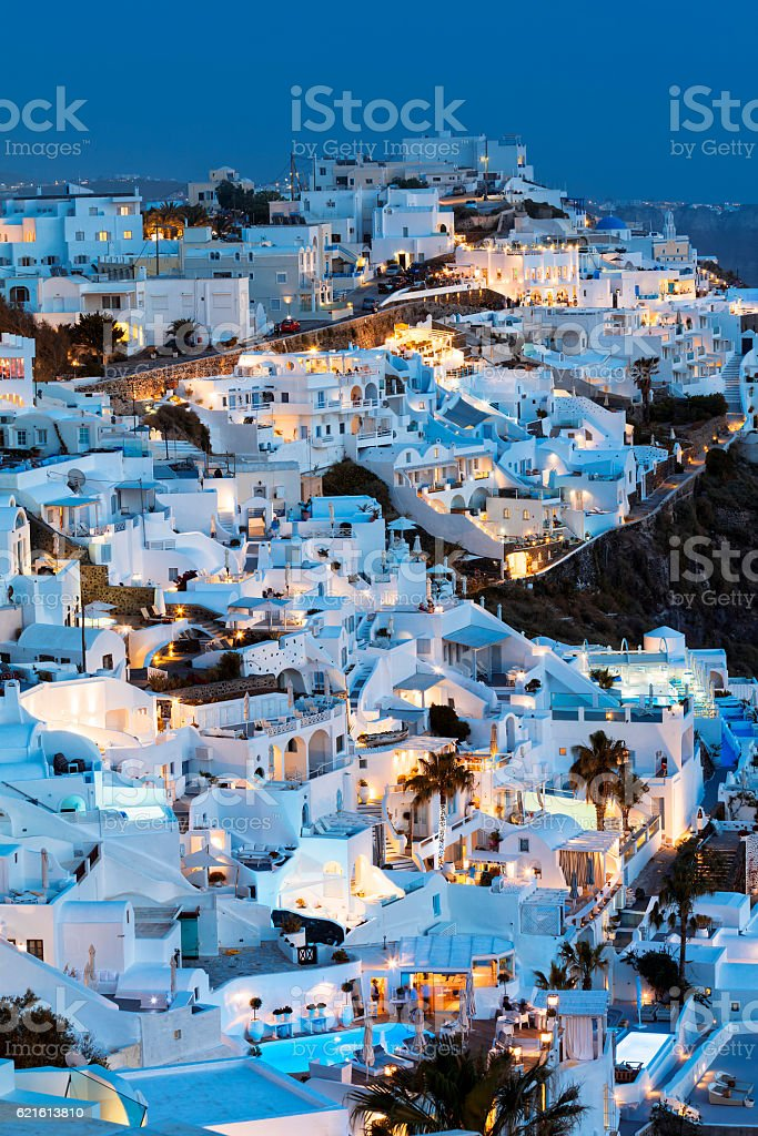 Fira Town at Dusk, Santorini, Cyclades Islands, Greece stock photo
