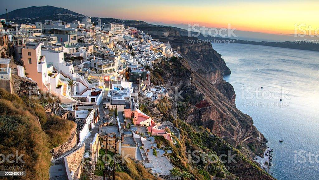 Fira town at twilight stock photo
