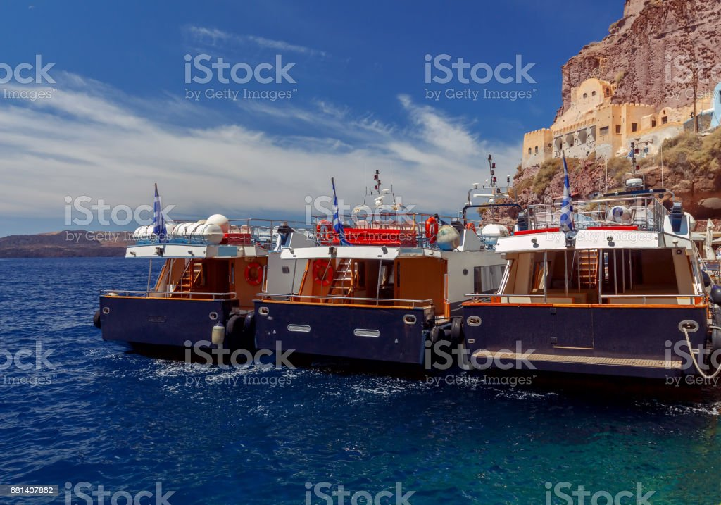 Fira. View of the old harbor royalty-free stock photo