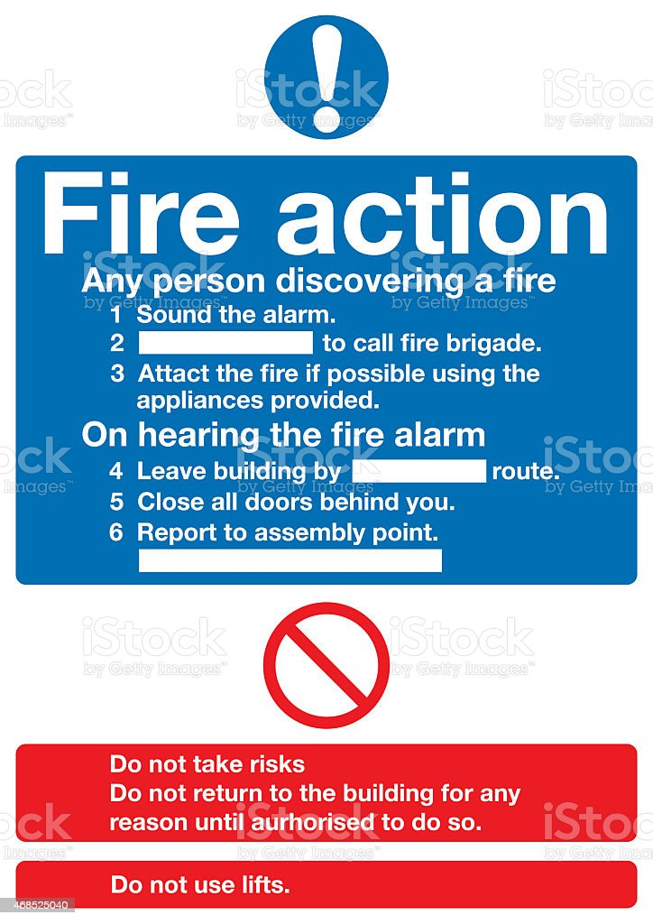 Fire action sign stock photo