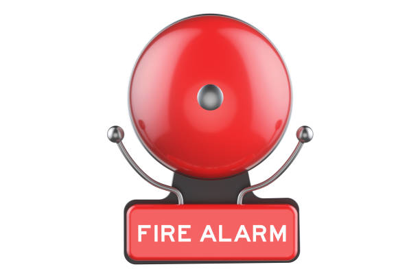 Fire Alarm, 3D rendering isolated on white background stock photo