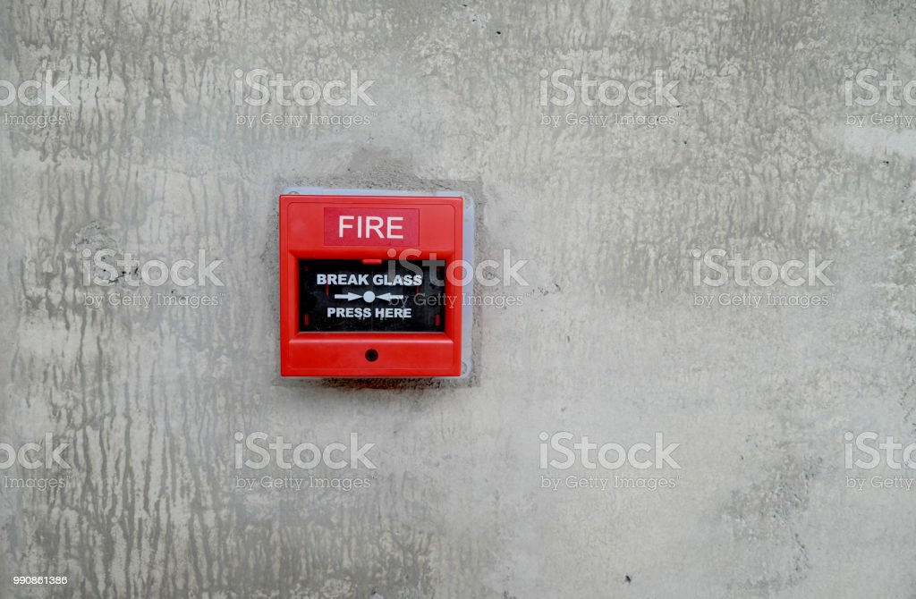 fire alarm box on wall for warning and security system stock photo