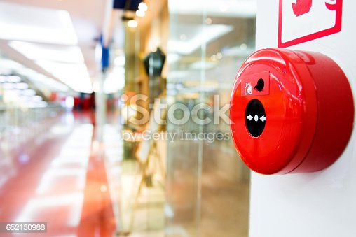 istock Fire alarm button on wall of shopping center 652130988
