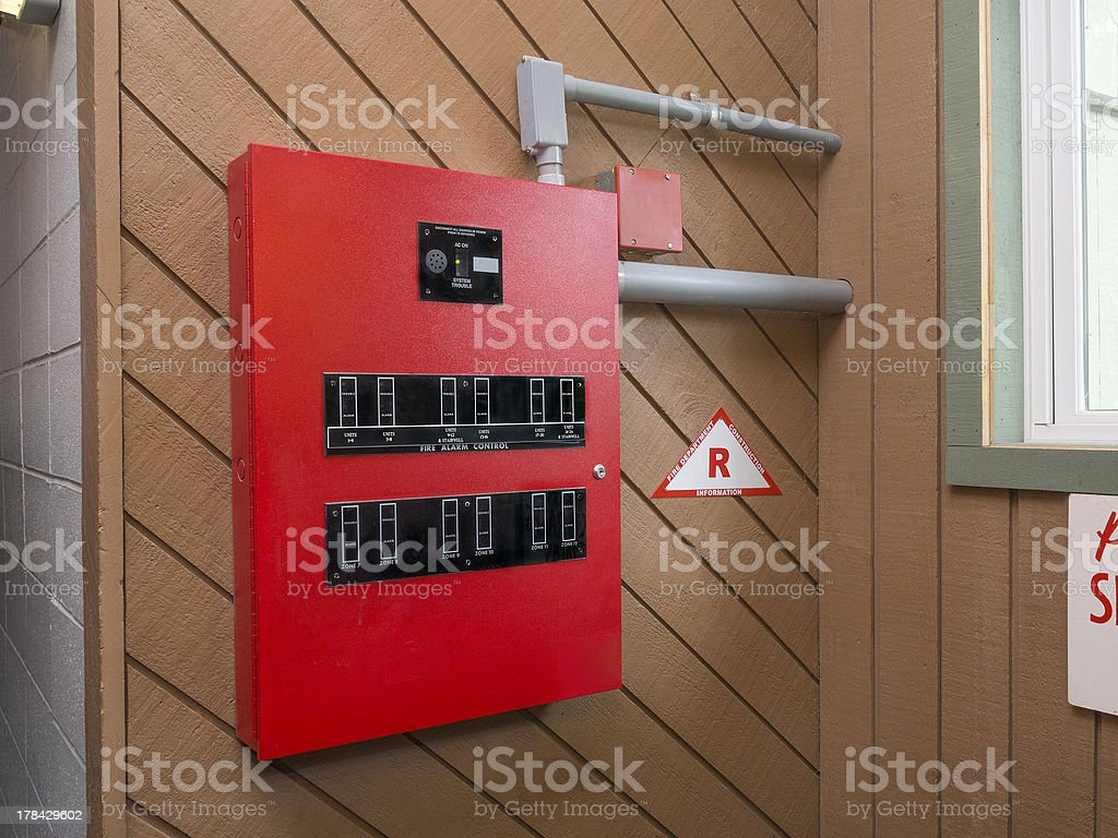 Fire alarm control panel stock photo