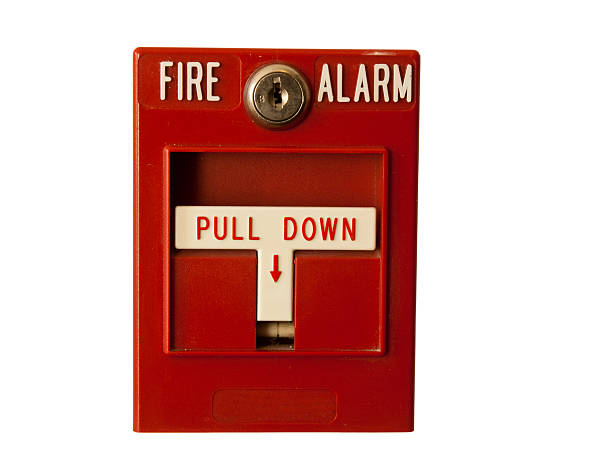 fire alarm isolated stock photo