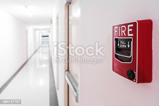 istock Fire Alarm near door fire exit door 494147707