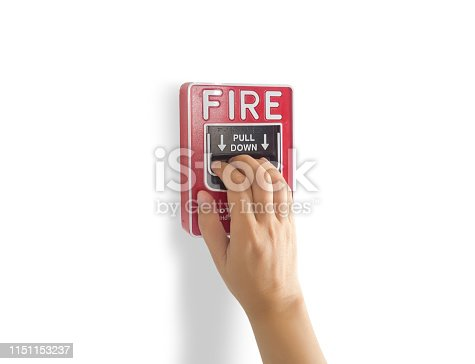 fire alarm notification appliance, hand pull down fire alarm system switch on the wall by manual for making a loud noise that gives warning of a fire alarm