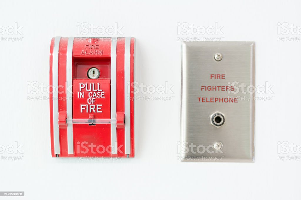Fire alarm push botton stock photo