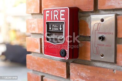 istock Fire Alarm Signal on Brick wall 1130391948