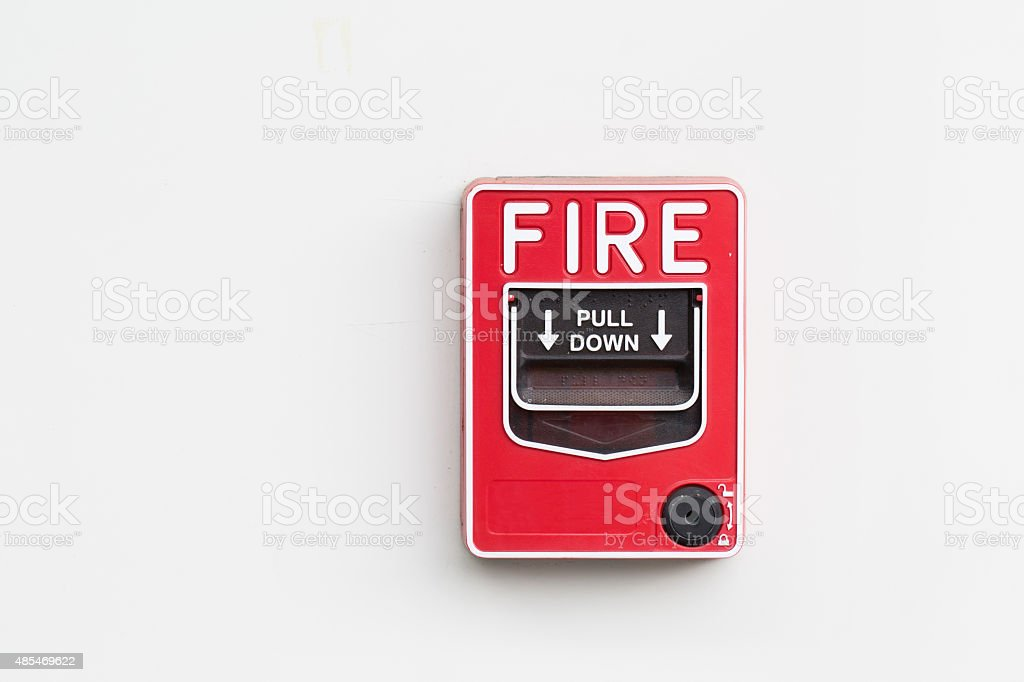 Fire alarm switch on white background stock photo