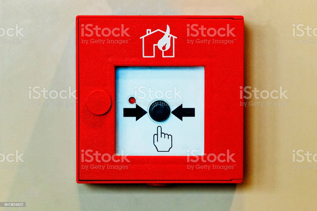 Fire Alarm System Button. Closed-up of Fire alarm press machine. stock photo