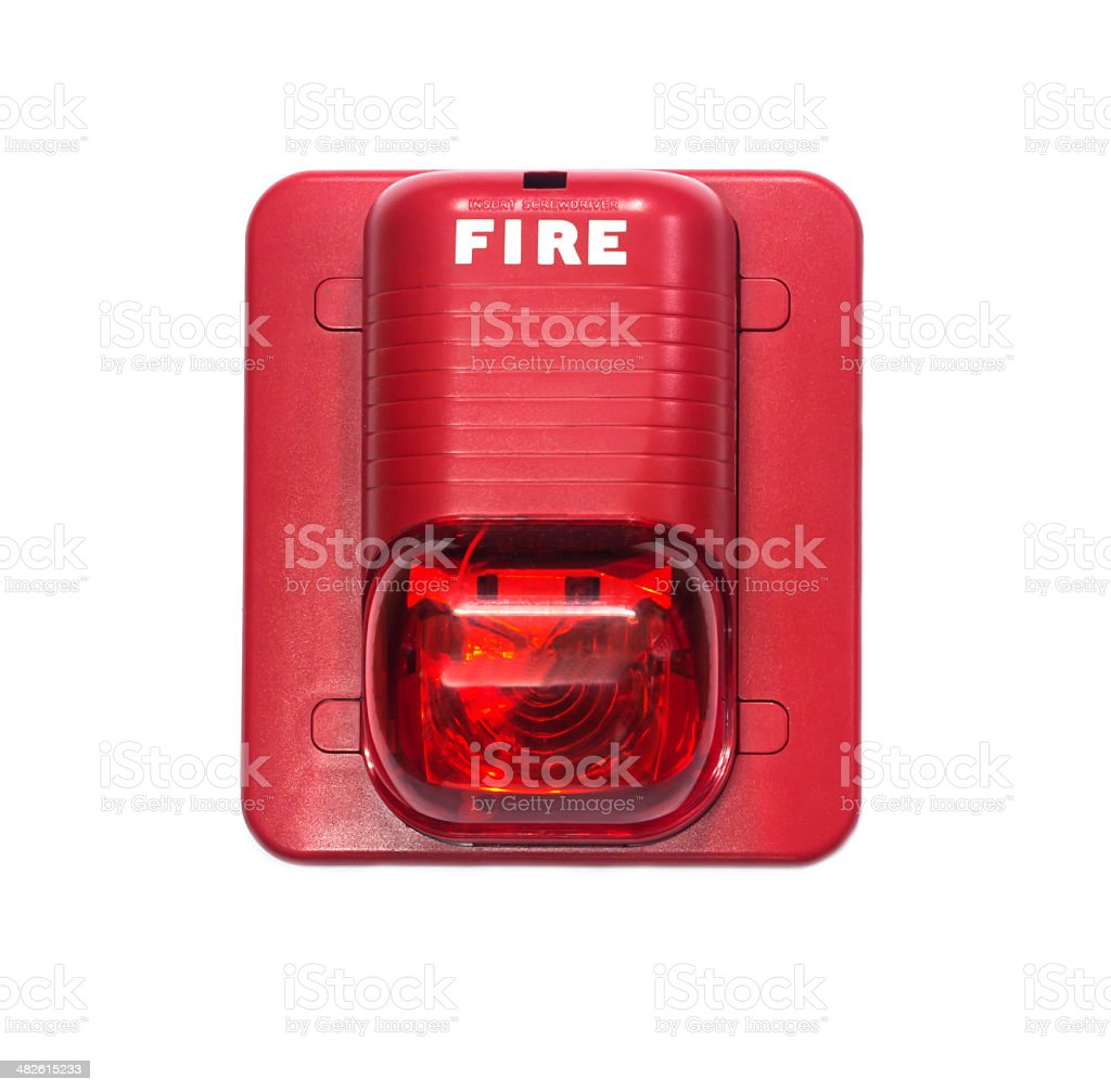 fire alarm with built in strobe light. stock photo