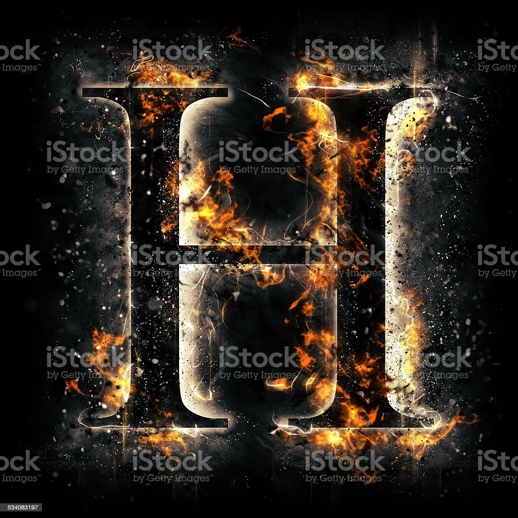 Fire alphabet. Letter H. stock photo