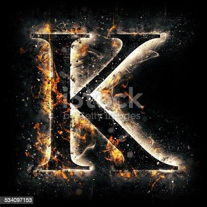 istock Fire alphabet. Letter K. 534097153