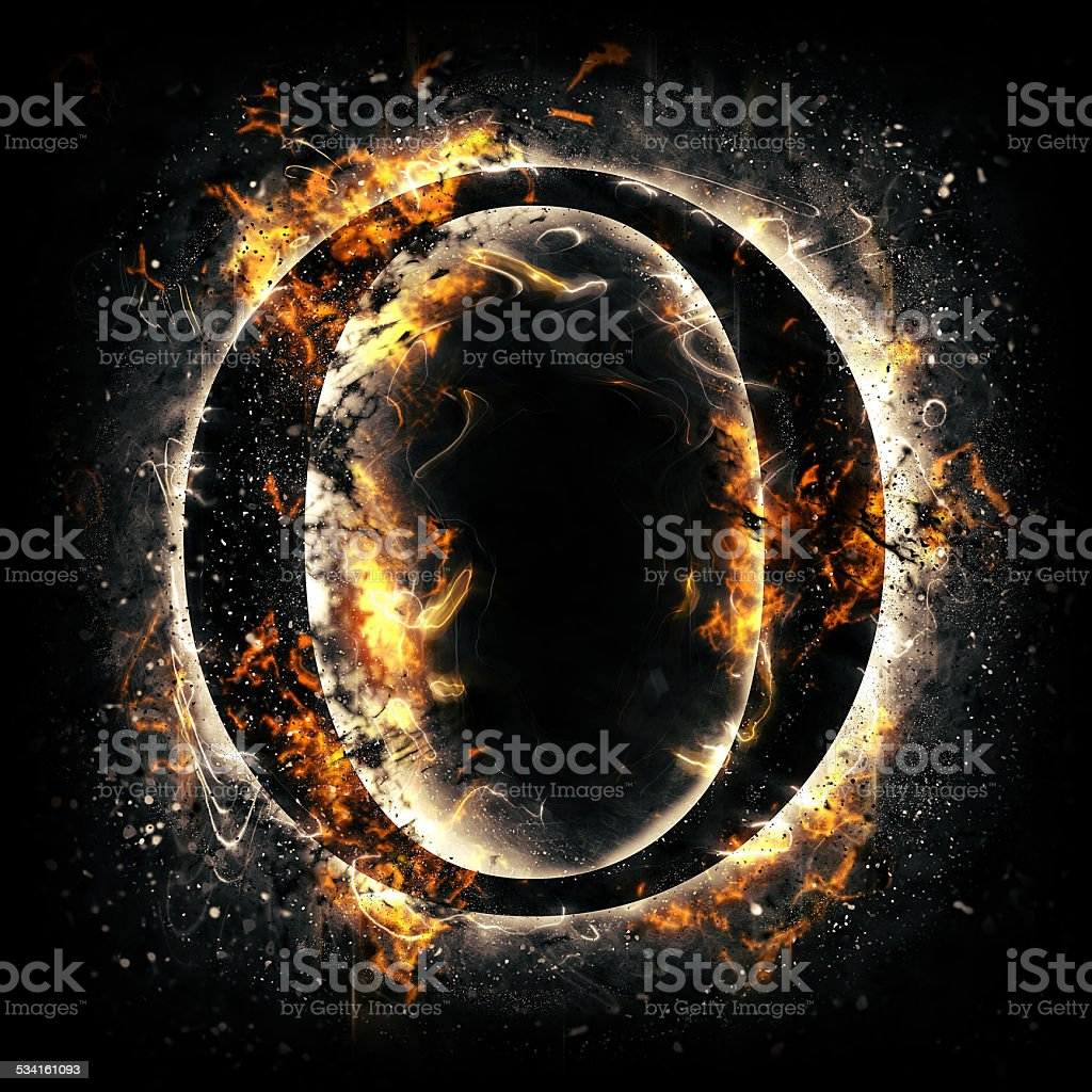 Fire alphabet. Letter O. stock photo