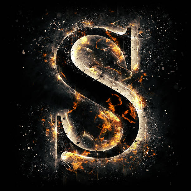 Fire alphabet. Letter S. stock photo