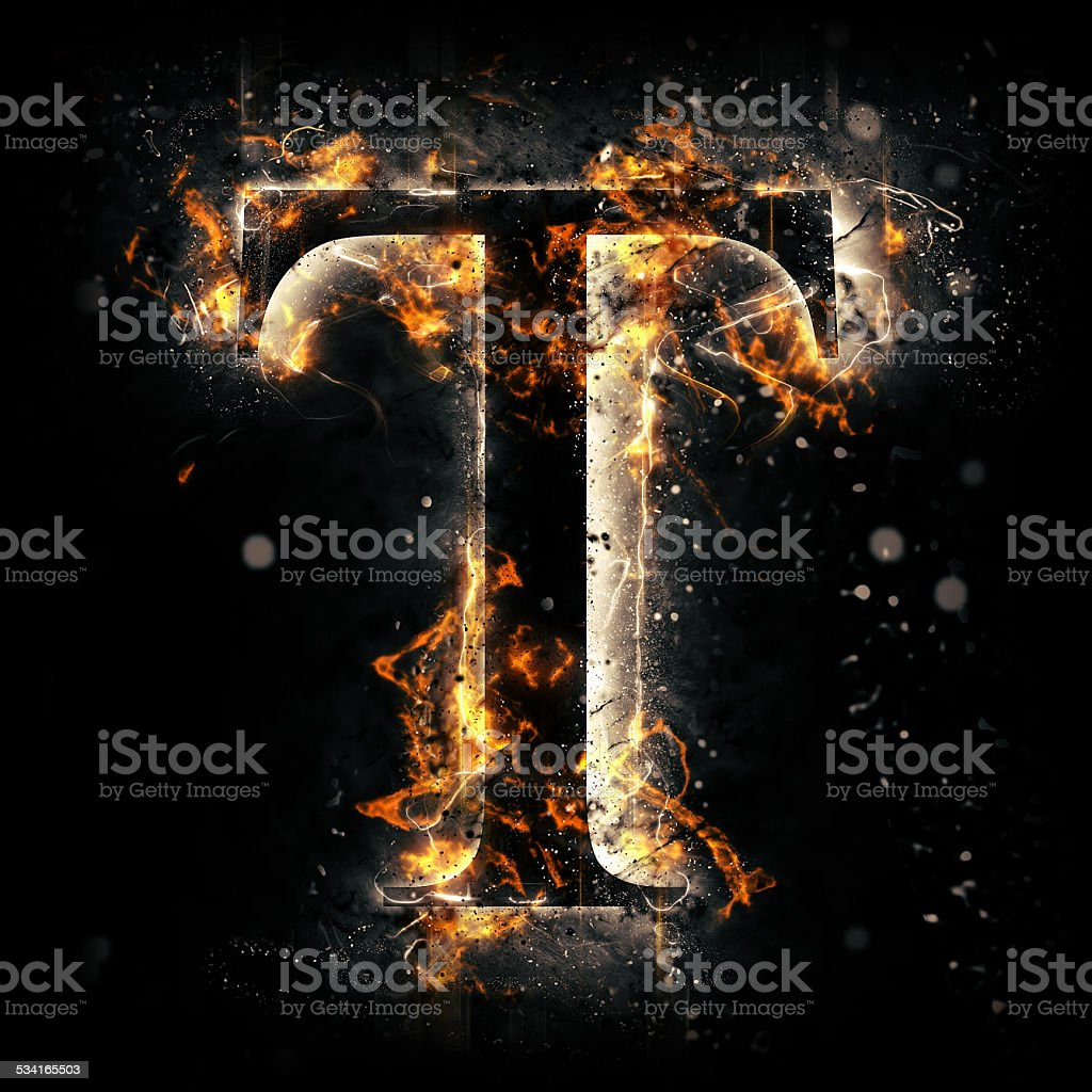 Fire alphabet. Letter T. stock photo