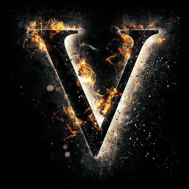 Fire alphabet. Letter V. stock photo