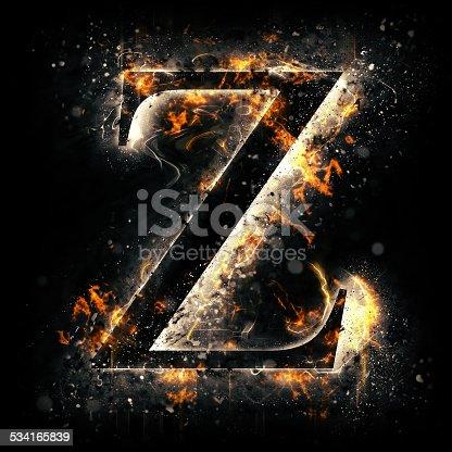 istock Fire alphabet. Letter Z. 534165839