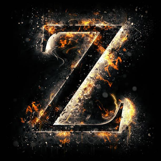 Fire alphabet. Letter Z. stock photo