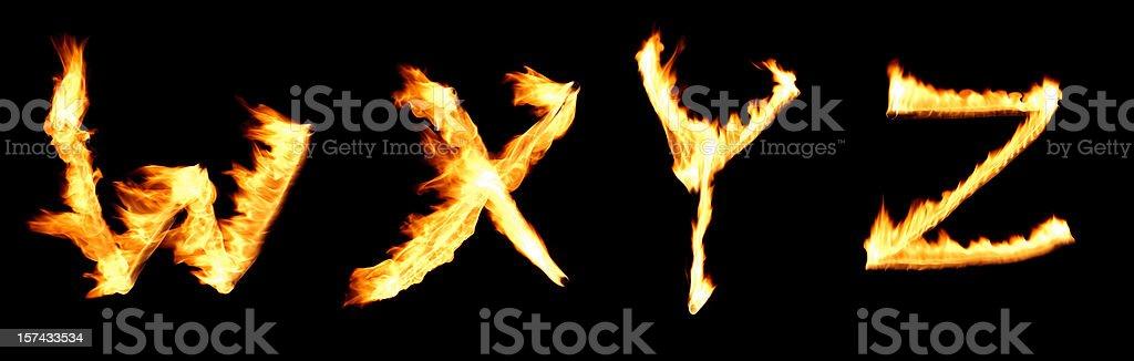 fire alphabet WXYZ royalty-free stock photo