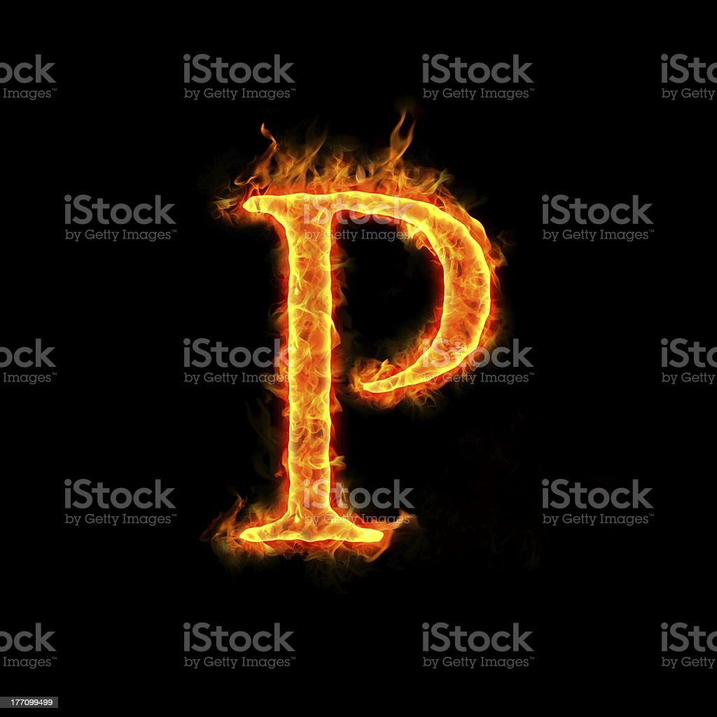 fire alphabets, P royalty-free stock photo