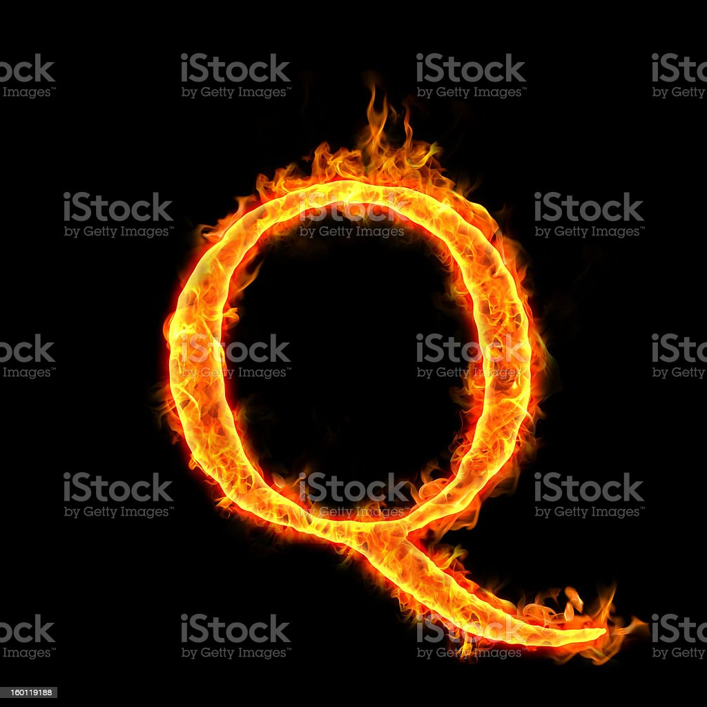 fire alphabets, Q stock photo