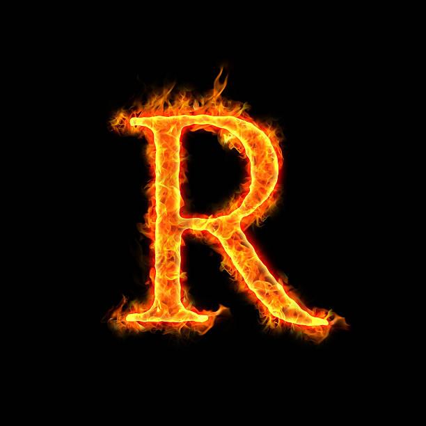 fire alphabets, R stock photo