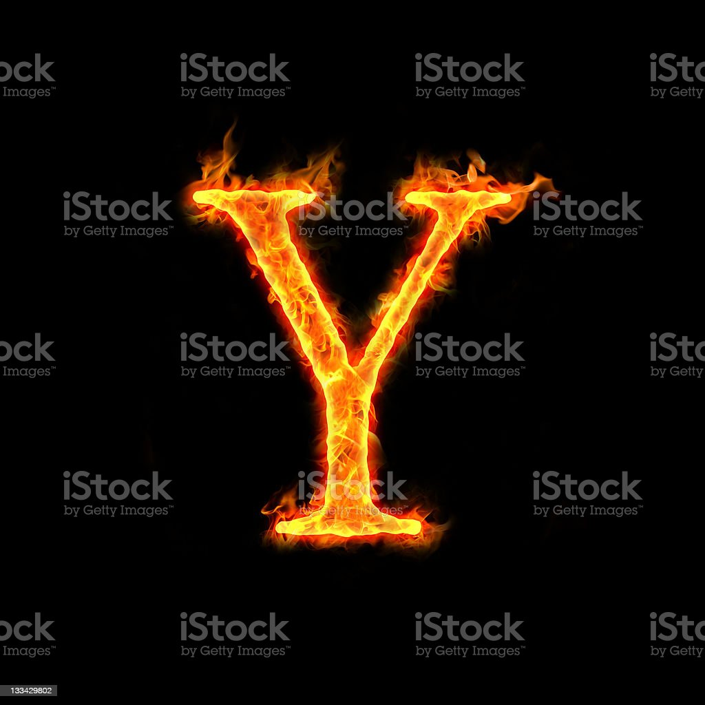 fire alphabets, Y royalty-free stock photo