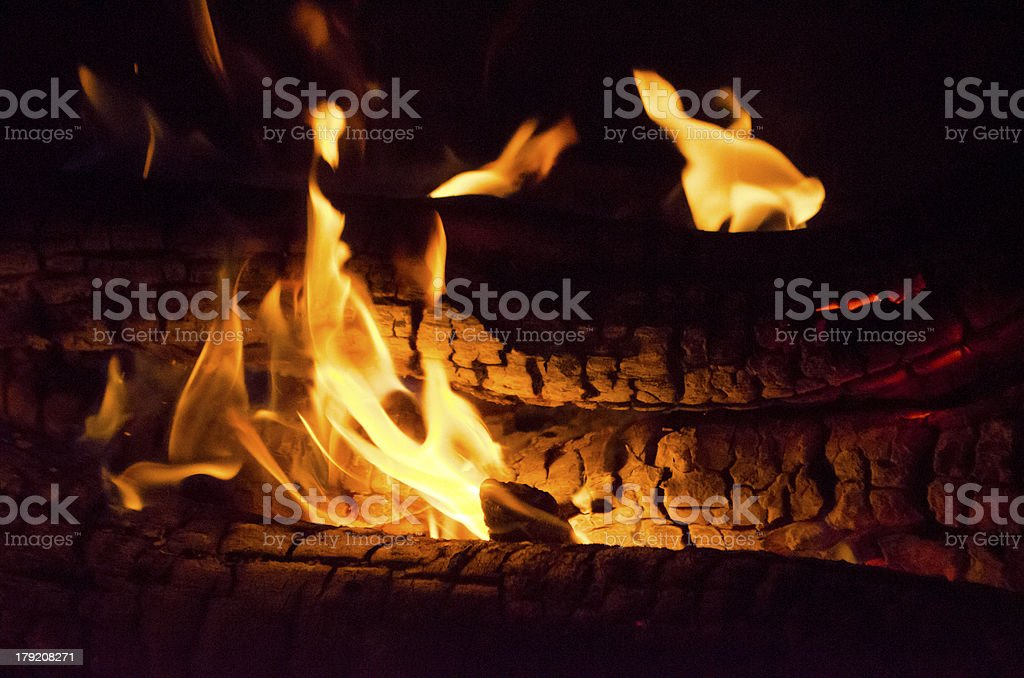 fire and burning wood royalty-free stock photo