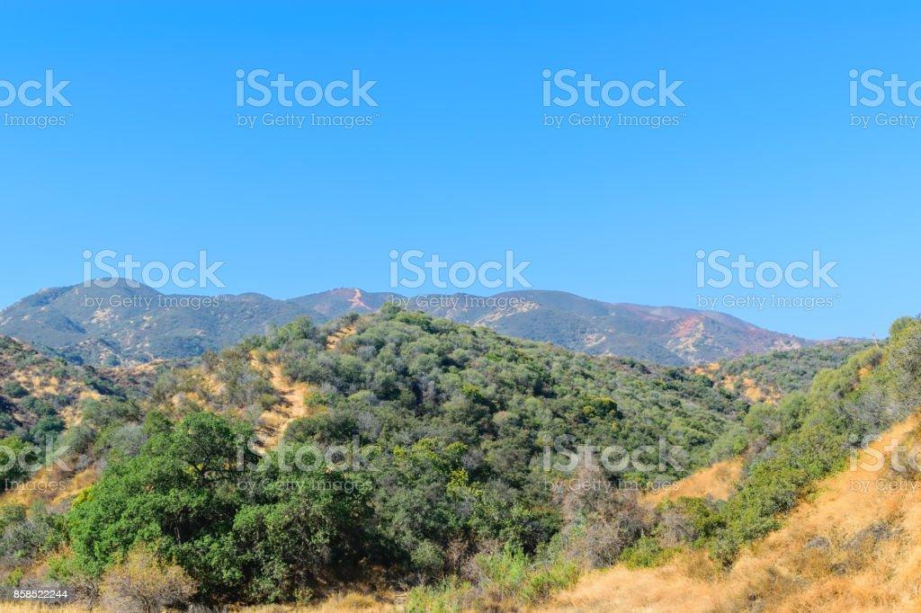 Fire and fire retardant hills stock photo