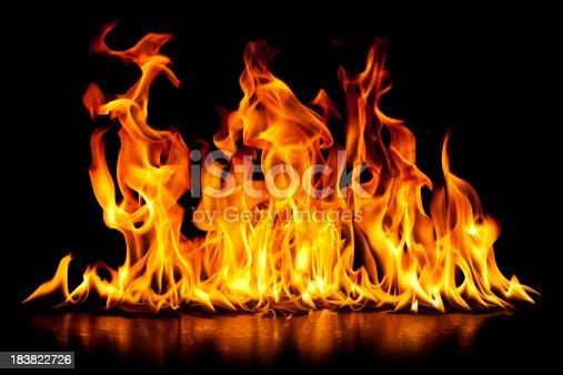 Hot burning fire on black