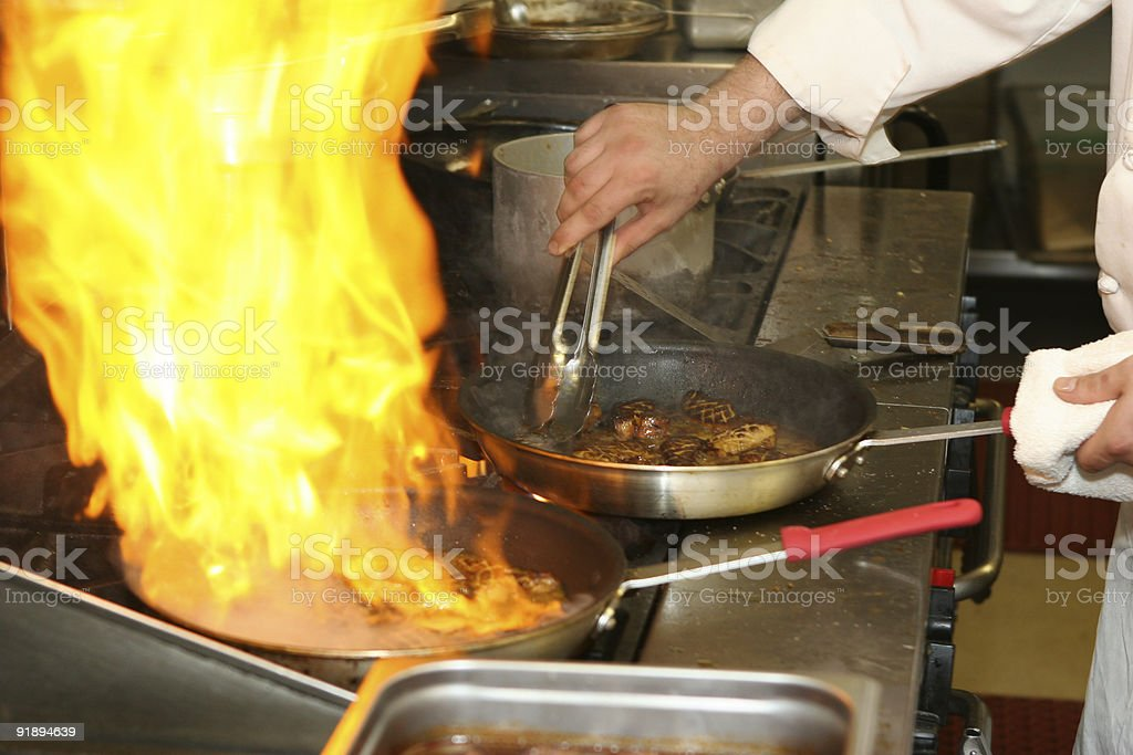 Fire and Foie Gras royalty-free stock photo