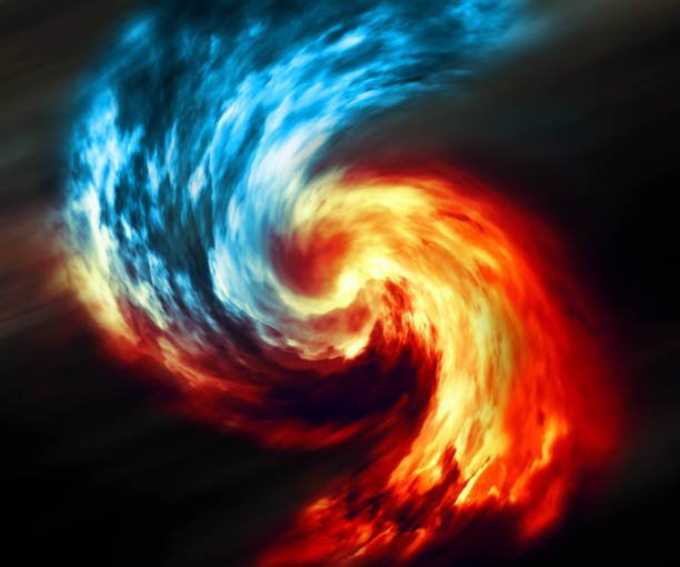 fire and ice abstract  background. red and blue smoke swirl on dark background - ice on fire foto e immagini stock