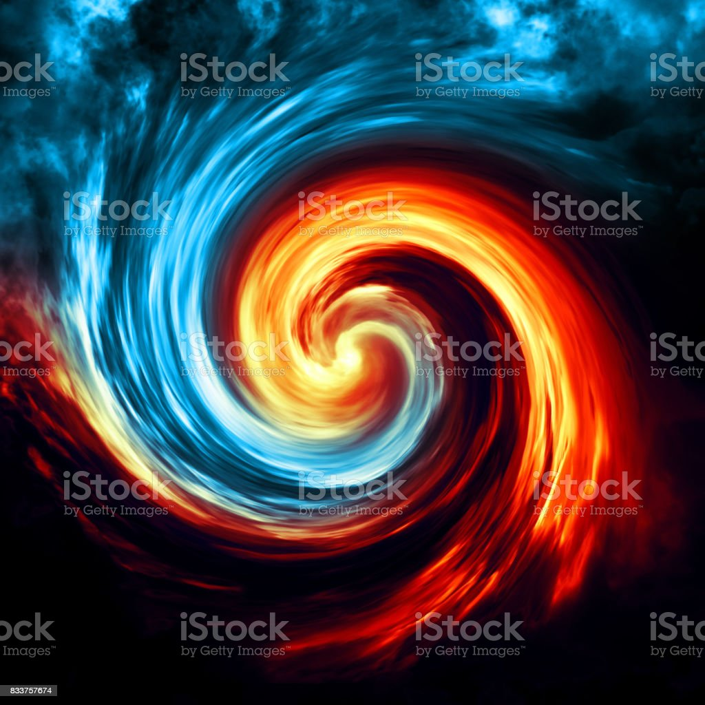 Fire And Ice Abstract Background Red And Blue Smoke Swirl On Dark