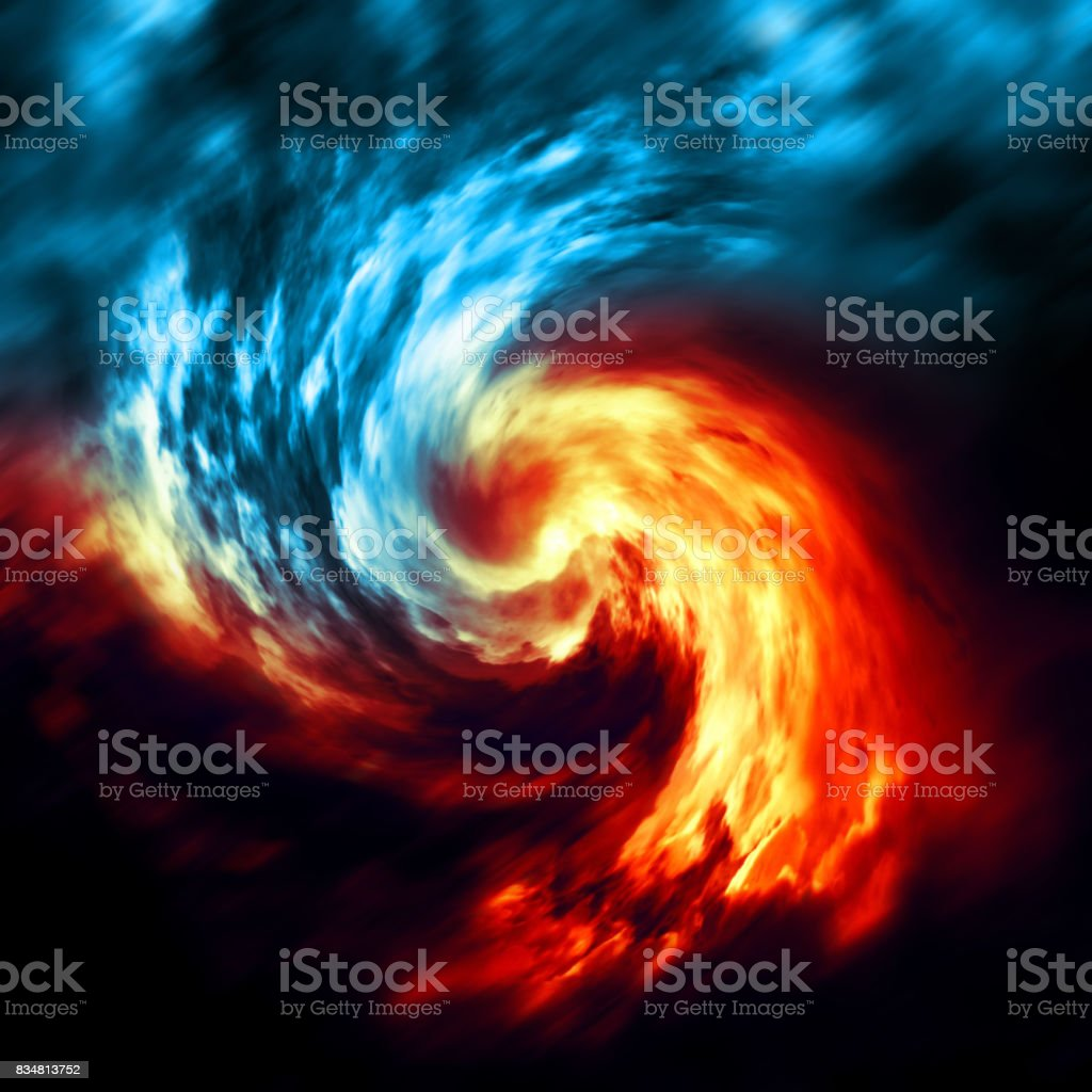 Fire and ice abstract  background. Red and blue smoke swirl on dark background stock photo