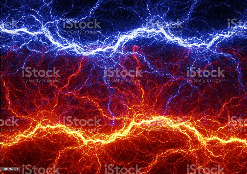 Fire and ice abstract fractal lightning stock photo